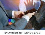 double expose of medical doctor ...   Shutterstock . vector #654791713