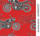 motorcycle seamless pattern ... | Shutterstock .eps vector #654800527