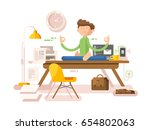 meditation businessman in office | Shutterstock .eps vector #654802063