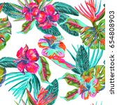 tropical painting repeat tropic ... | Shutterstock . vector #654808903