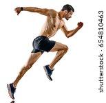 one caucasian man runner jogger ... | Shutterstock . vector #654810463