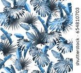 tropical leaves pattern. green... | Shutterstock . vector #654810703