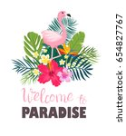 a tropical card with palm... | Shutterstock .eps vector #654827767