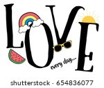 love slogan and patches vector. | Shutterstock .eps vector #654836077