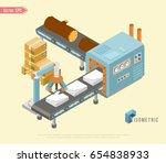 isometric industrial factory... | Shutterstock .eps vector #654838933