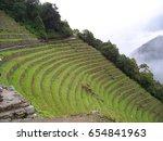 winay wayna inca ruins above... | Shutterstock . vector #654841963