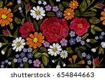 embroidery flower rose poppy... | Shutterstock .eps vector #654844663
