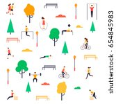 summer people in the park. flat ... | Shutterstock .eps vector #654845983