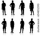 set black silhouette man... | Shutterstock .eps vector #654851593