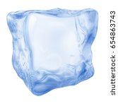one big realistic ice cube in... | Shutterstock . vector #654863743