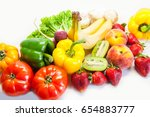 assorted vegetables and fruits | Shutterstock . vector #654883777