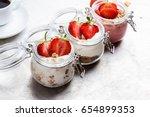 assortment of healthy breakfast ... | Shutterstock . vector #654899353