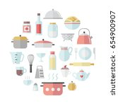 crockery and cooking cute flat... | Shutterstock .eps vector #654900907