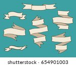 vintage hand drawn ribbon... | Shutterstock .eps vector #654901003