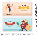 deliveryman and ad text.... | Shutterstock .eps vector #654901693