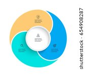 business pie chart with 3 steps ... | Shutterstock .eps vector #654908287