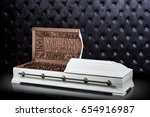opened wooden white sarcophagus ... | Shutterstock . vector #654916987