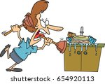 cartoon woman attacking a sink... | Shutterstock .eps vector #654920113