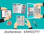 work team choosing resumes of... | Shutterstock .eps vector #654922777
