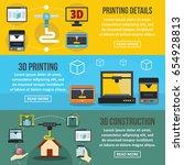 3d printing banner horizontal... | Shutterstock .eps vector #654928813