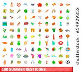 100 summer rest icons set in... | Shutterstock .eps vector #654929353