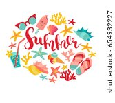 summer badge  vector... | Shutterstock .eps vector #654932227