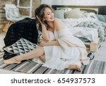 portrait of beautiful young...   Shutterstock . vector #654937573