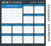 2018 calendar planner   sunday... | Shutterstock .eps vector #654942913