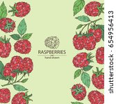 background with a raspberry and ... | Shutterstock .eps vector #654956413