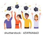 young men and women toss up... | Shutterstock .eps vector #654964663