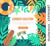 summer vacation concept poster... | Shutterstock .eps vector #654964687