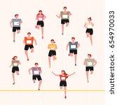 running marathoners character... | Shutterstock .eps vector #654970033