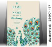 invitation card templates with... | Shutterstock .eps vector #654974497