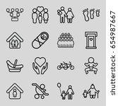 family icons set. set of 16... | Shutterstock .eps vector #654987667