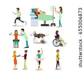 vector set of disabled people... | Shutterstock .eps vector #655006873