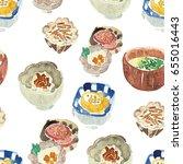 japanese food seamless pattern. ... | Shutterstock . vector #655016443