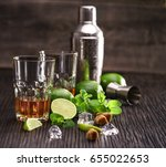 composition of glasses with rum ... | Shutterstock . vector #655022653