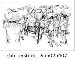 sketch of cityscape in india... | Shutterstock .eps vector #655025407