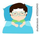 little sick boy sleep in bed... | Shutterstock .eps vector #655026943