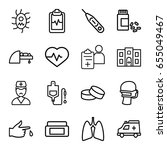healthcare icons set. set of 16 ... | Shutterstock .eps vector #655049467
