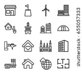 building icons set. set of 16... | Shutterstock .eps vector #655057333