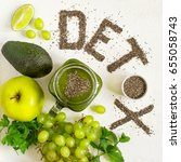 word detox is made from chia...   Shutterstock . vector #655058743