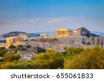 view on acropolis at sunset ... | Shutterstock . vector #655061833