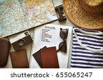 top view of traveler's... | Shutterstock . vector #655065247