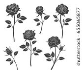 rose buds vector silhouettes.... | Shutterstock .eps vector #655065877