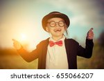 funny little girl in bow tie... | Shutterstock . vector #655066207