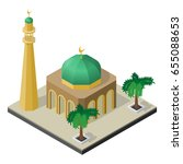 mosque  minaret and palm trees... | Shutterstock .eps vector #655088653