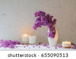 Flowers In Vase With Candles O...
