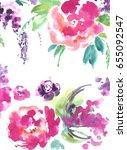 watercolor flower background. | Shutterstock . vector #655092547