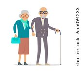 aged people walking isolated on ... | Shutterstock . vector #655094233